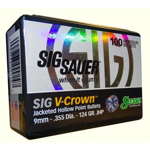 9924 Sierra 9mm  .355  124gr JHP Sig V-Crown