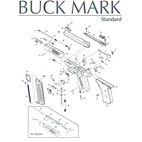 Browning Buck Mark Set Piezas: 13, 14, 16, 18, 40 y 43