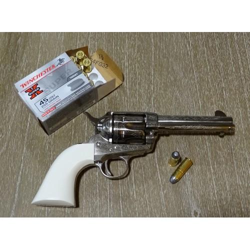 """Cattleman 1873 Bill Tilghman Nickel Engraved Luxe 45 Long Colt 4 3/4"""""""