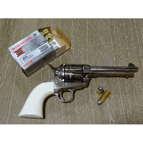 Cattleman 1873 Bill Tilghman Nickel Engraved Luxe 45 Long Colt 5 1/2""