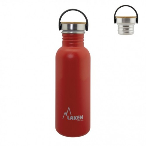 Laken BOTELLA DE ACERO INOXIDABLE BASIC STEEL 0,75L TAPÓN BAMBÚ Y ACERO INOXIDABLE