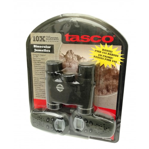 Tasco Binoculares 10x25 + Emisoras de 8 canales