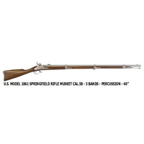 "Euroarms SP400 U.S. 1861 Springfield Rifle Musket .58 3 Bands 40"" Percusión"