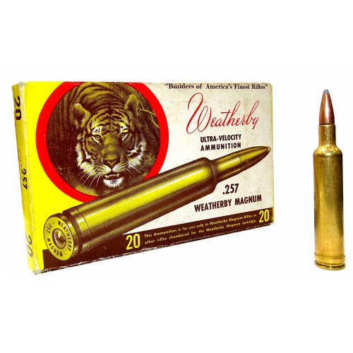 "Balas Weatherby ""Vintage"" .257 Magnum 100 gr Soft Point Ultra Velocity"